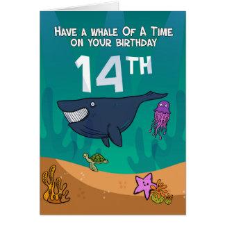 Carte 14ème Anniversaire, baleines étoiles de mer et