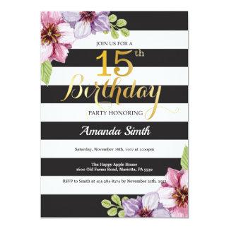 Carte 15ème Ado d'invitation d'anniversaire floral