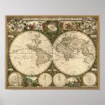 Carte 1660 du monde d'antiquité par Frederick de Poster