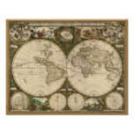 Carte 1660 du monde d'antiquité par Frederick de W Poster