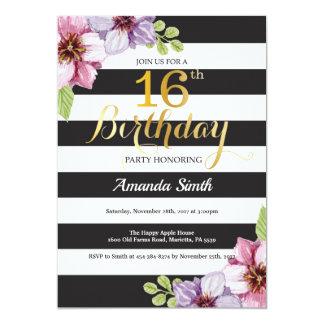 Carte 16ème Ado d'invitation d'anniversaire floral