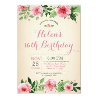 Carte 16ème aquarelle florale de rose d'invitation
