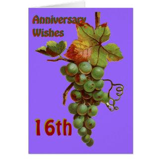 Carte 16ème Souhaits d'anniversaire, customiseable