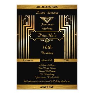 Carte 16ème, style d'anniversaire 16ème, de Gatsby, noir