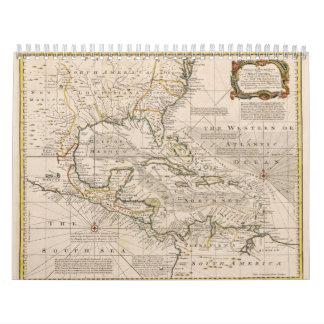 Carte 1720 des Antilles par Emanuel Bowen Calendriers