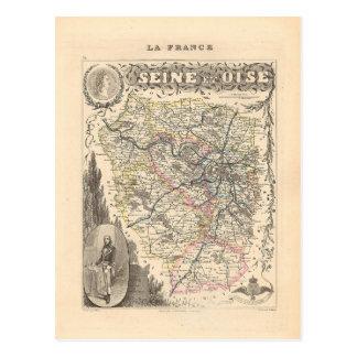Carte 1858 de département de la Seine et de