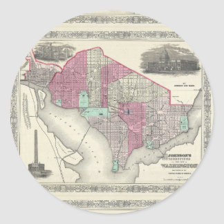 Carte 1866 de Johnson de DC de Washington Sticker Rond