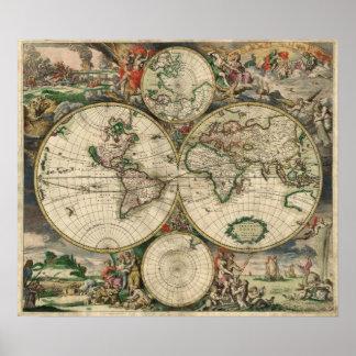 Carte 1869 du monde