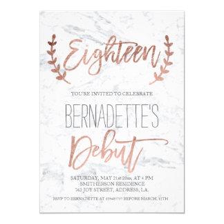 Carte 18ème anniversaire d'or de typographie de marbre