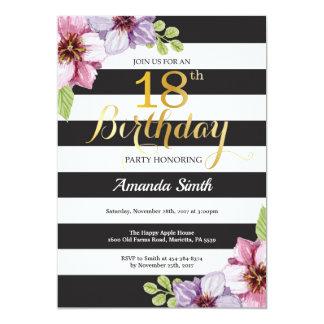 Carte 18ème Femmes d'invitation d'anniversaire. Noir