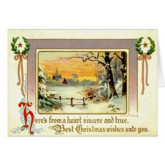 Carte 1911 d'une salutation sincère de Noël de coeur