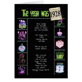 Carte 1928 anecdotes amusantes d'anniversaire