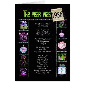Carte 1956 anecdotes amusantes d'anniversaire