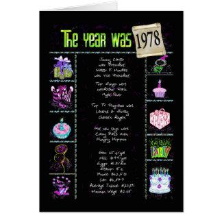Carte 1978 balivernes d'amusement d'année d'anniversaire