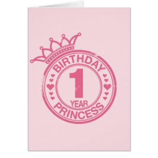Carte 1 an - princesse d'anniversaire - rose