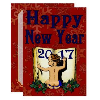 Carte #1 d'invitation de la bonne année 2017 carton d'invitation  12,7 cm x 17,78 cm