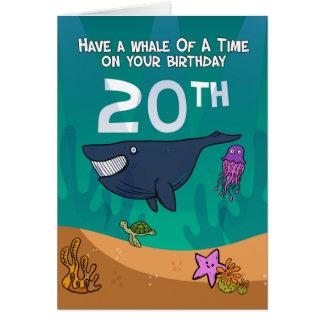 Carte 20ème Anniversaire, baleines étoiles de mer et