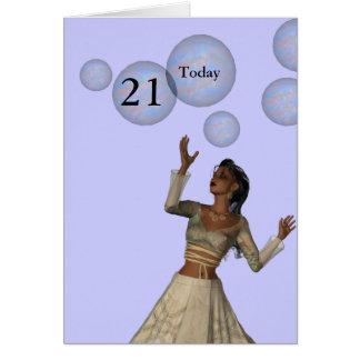 Carte 21ème Fée et bulles d'anniversaire