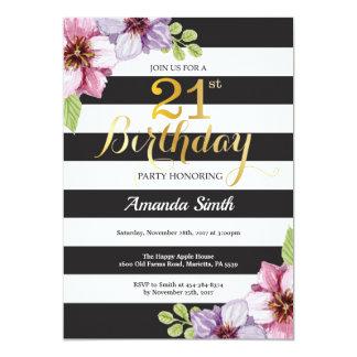 Carte 21ème Femmes d'invitation d'anniversaire. Noir