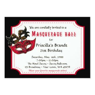 Carte 21ème Mascarade d'invitation d'anniversaire,