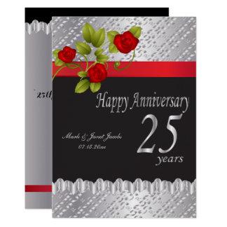 Carte 25ème anniversaire argenté heureux