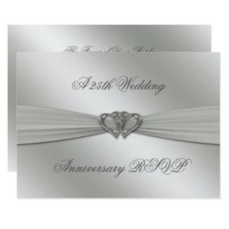 Carte 25ème anniversaire de mariage d'argent classique