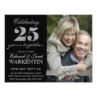 Carte 25ème anniversaire de mariage d'argent élégant de