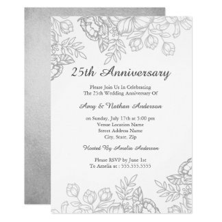 Carte 25ème anniversaire floral vintage argenté élégant