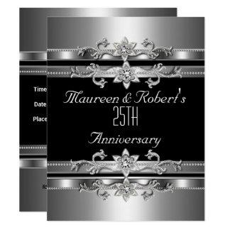 Carte 25ème Argent noir élégant d'invitation