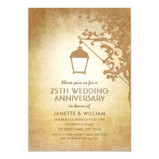 Carte 25ème automne rustique d'anniversaire de mariage