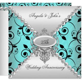 Carte 25ème bleu turquoise élégant d'anniversaire de