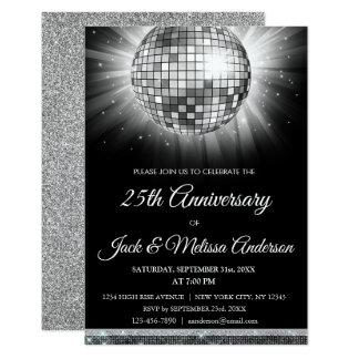 Carte 25ème Boule de disco d'argent de fête