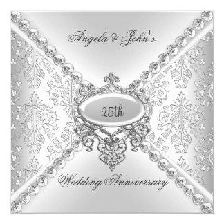 Carte 25ème damassé d'anniversaire de mariage d'argent