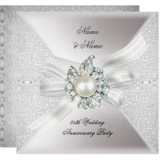 Carte 25ème Dentelle Pearl White de fête d'anniversaire
