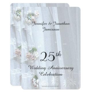 Carte 25ème Fête d'anniversaire de mariage, dentelle