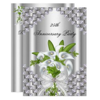 Carte 25ème fête d'anniversaire florale blanche argentée
