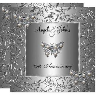 Carte 25ème Papillon floral argenté élégant