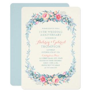 Carte 25ème ressort floral élégant d'anniversaire de