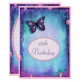 Carte 25ème Scintillement, papillon, roses et dentelle