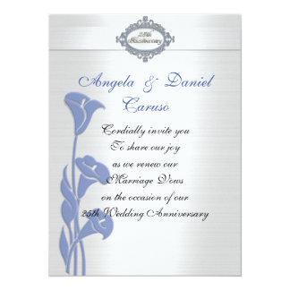 Carte 25èmes zantedeschias de bleu d'invitation