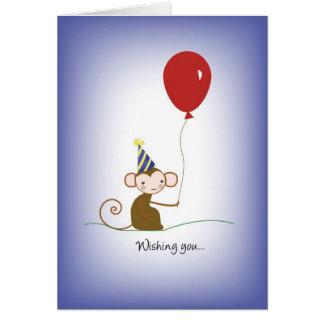 Carte 2638 singe et anniversaire de ballon