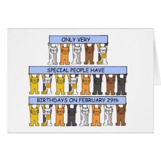 Carte 29 février anniversaires célébrés par des chats