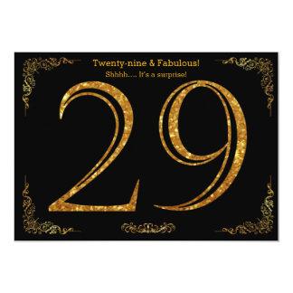 Carte 29ème Fête d'anniversaire, styl de Gatsby,