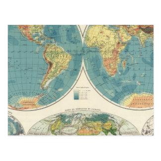 Carte 2 d'atlas du monde cartes postales