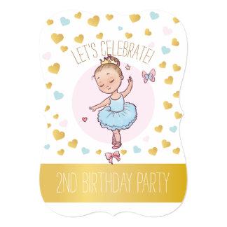 Carte 2ème Princesse Ballerina de la fête d'anniversaire
