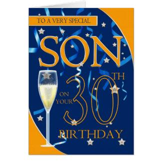 Carte 30ème Fils d'anniversaire - verre de Champagne