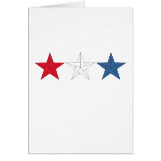 Carte 3 étoiles d'origami - rouges, blanches, et bleu