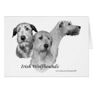 Carte 3 têtes de chien-loup irlandais