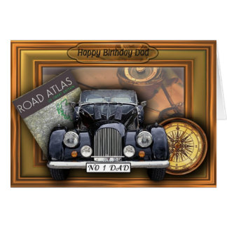 Carte 3D voiture vintage - papa de joyeux anniversaire