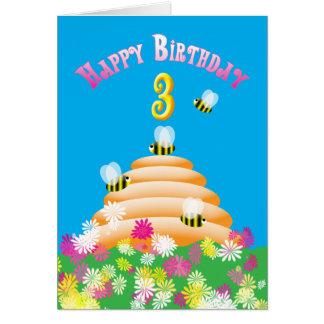 Carte 3ème Abeilles et fleurs mignonnes d'anniversaire